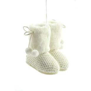 Incroyable White Fabric Furry Boots Ornament (Set Of 2)