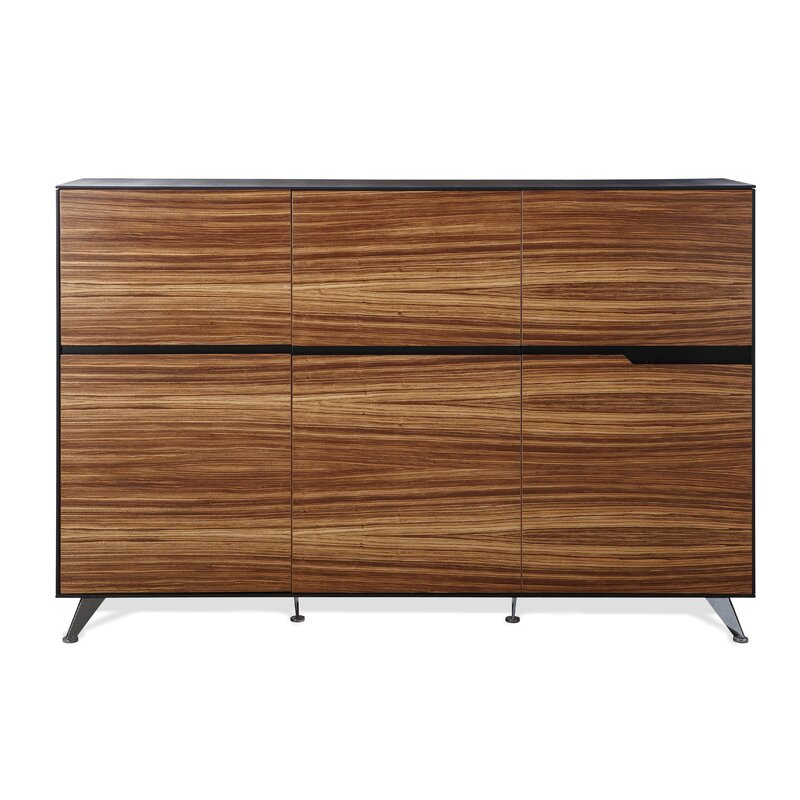 Comm Office  Waldrup Credenza Color: Zebrano Wood