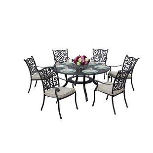 Fleur De Lis Living Belton 7 Piece Dining Set with Cushions