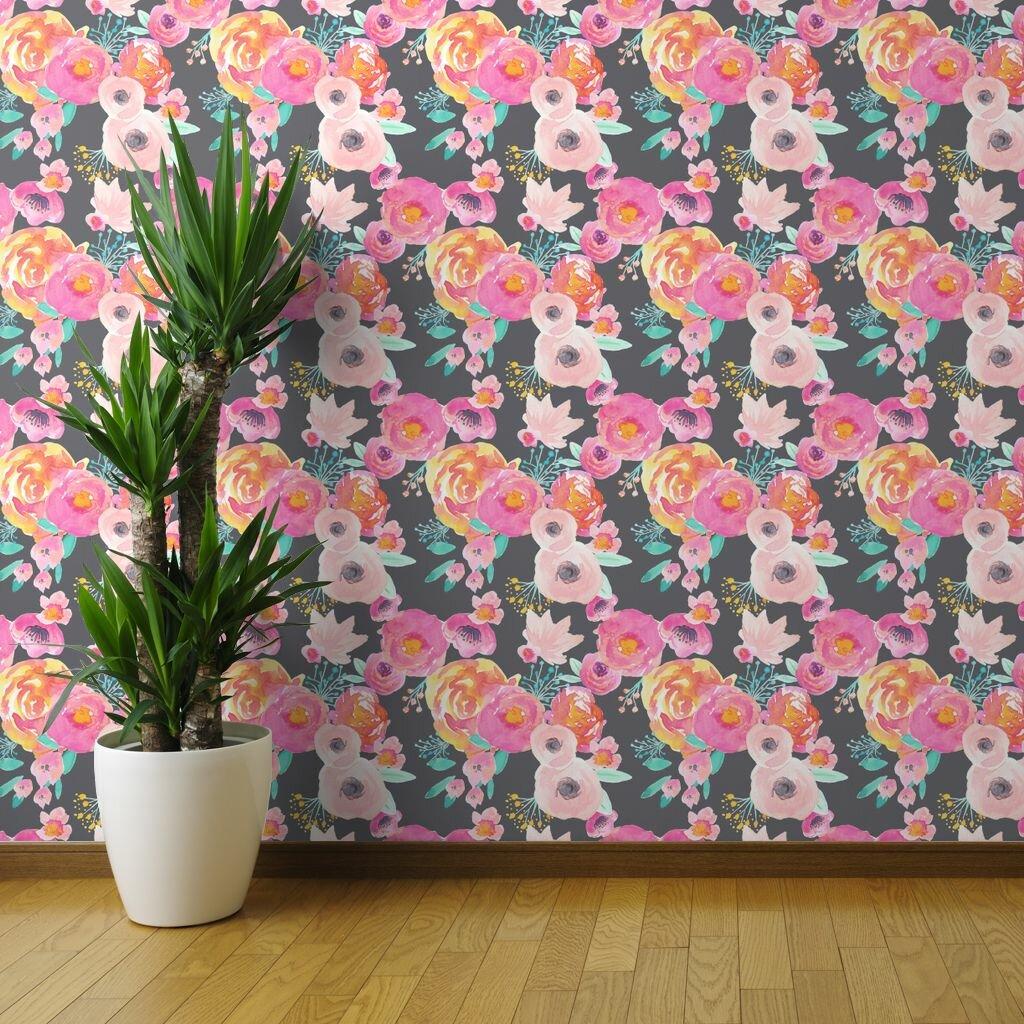 Ebern Designs Erfan Bold Floral Removable Peel And Stick Wallpaper