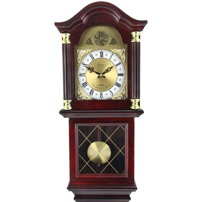 Classic Chiming Wall Clock with Swinging Pendulum Bedford Clock Color: Mahogany Cherry Oak