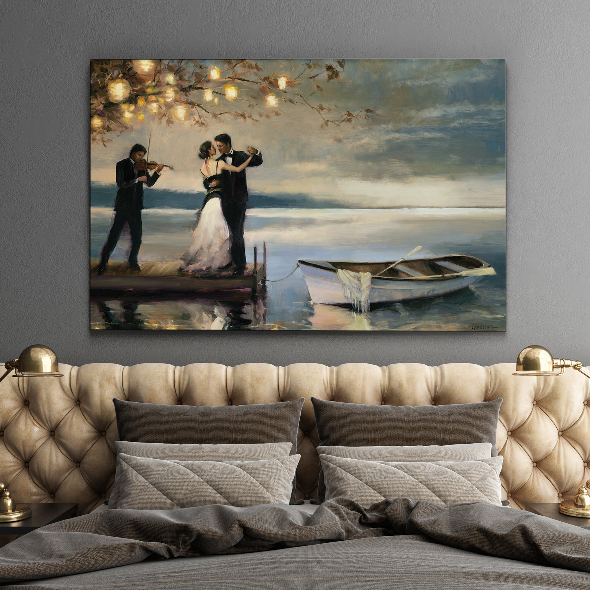 Heart Shaped Hook Love SINGLE CANVAS WALL ART Picture Print VA