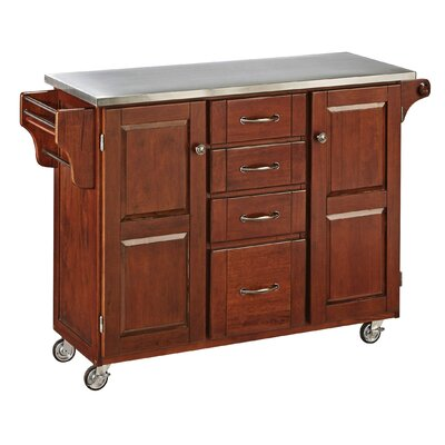 Adelle-a-Cart Kitchen Island with Stainless Steel Top Base Color: Cherry by August Grove