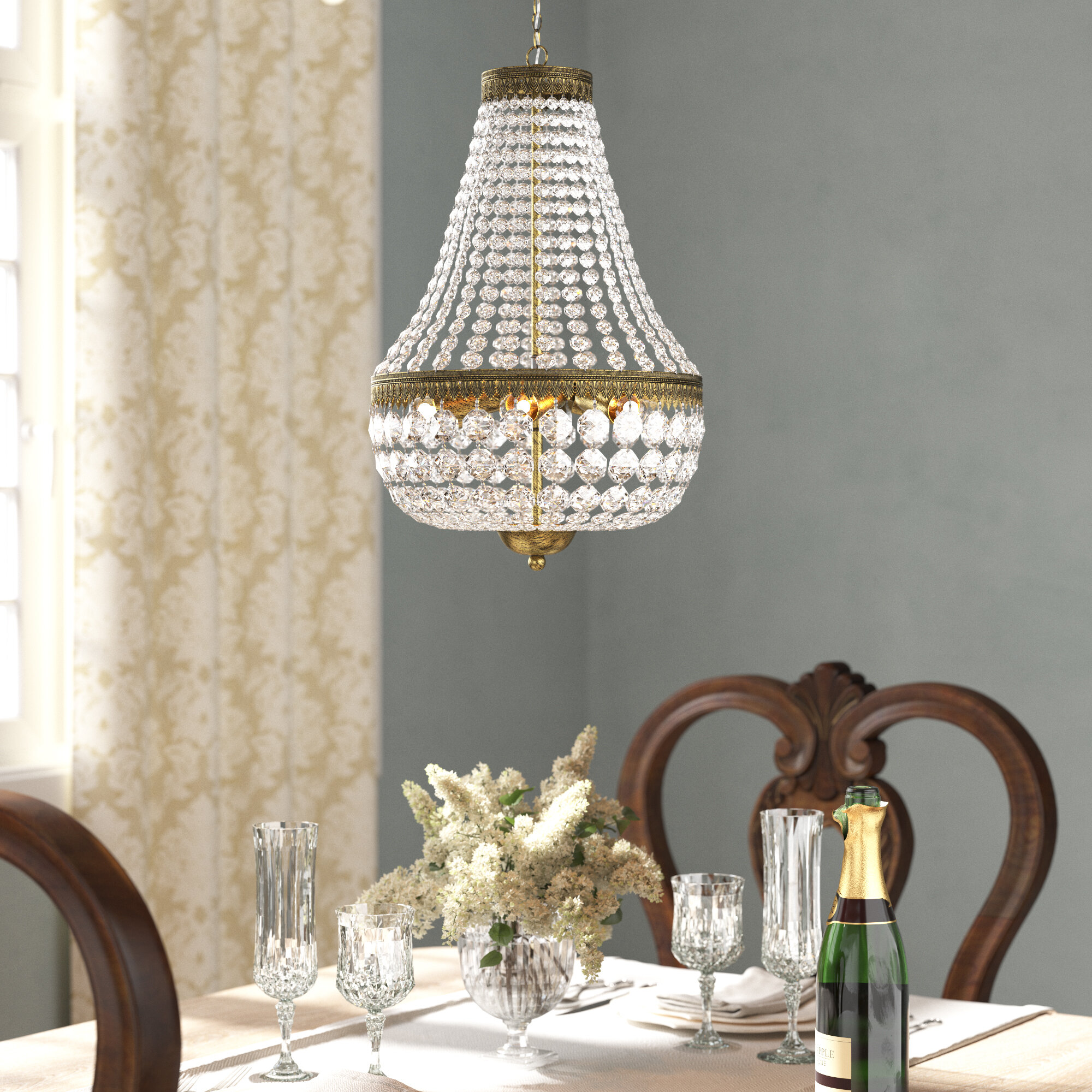Astoria Grand Gartner 6 Light Unique Statement Empire Chandelier With Crystal Accents Reviews Wayfair