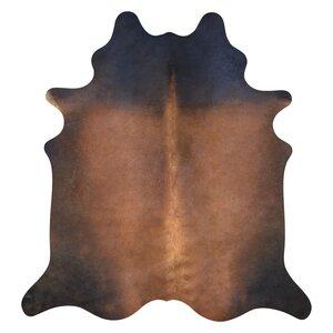 Cowhide Hand-Woven Dark Brown Area Rug