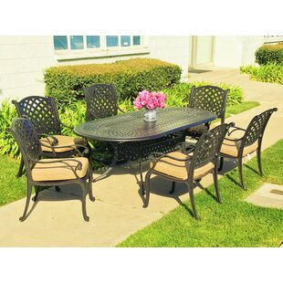 Darby Home Co Beadle Oval Sesame 7 Piece Dining Set with Cushions
