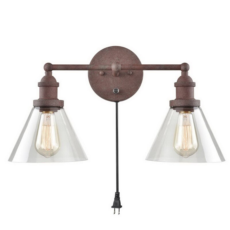 Light Plug In Armed Wall Sconce