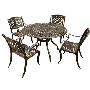Cass Rose Ornate Mesh Lattice 5 Piece Dining Set