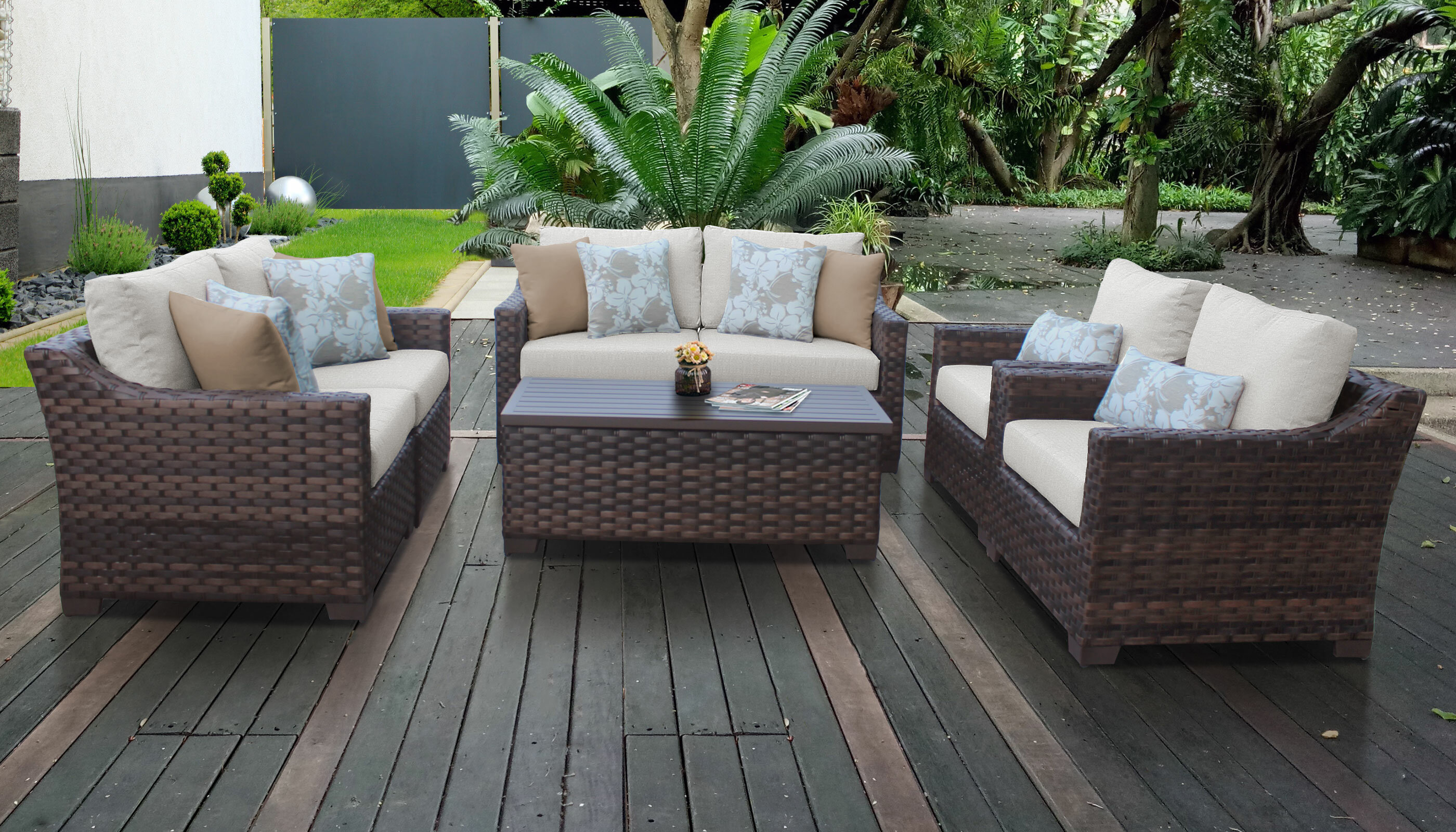 Awesome Kathy Ireland Homes Gardens River Brook 7 Piece Outdoor Wicker Patio Furniture Set 07E Home Interior And Landscaping Fragforummapetitesourisinfo