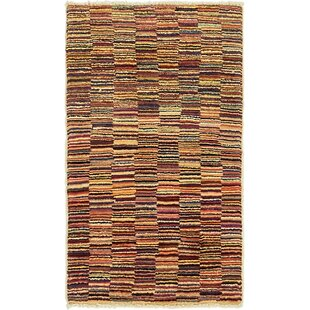 Order One-of-a-Kind Nash Hand-Knotted  1'10 x 3'2 Wool Black/Beige/Red Area Rug By Isabelline