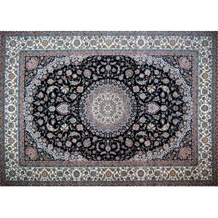 Nations Hand Look Persian Wool Blue Ivory Red Area Rug