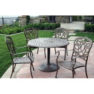 Astoria Grand Dolby Traditional 5 Piece Metal Frame Dining Set with Cushions
