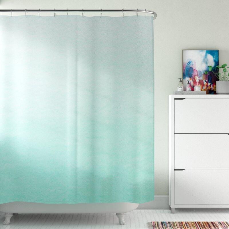 Brayden Studio Kessinger Mint Ombre Single Shower Curtain Reviews Wayfair