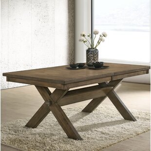 Compare prices Poe Cross-buck Extendable Dining Table ByGracie Oaks