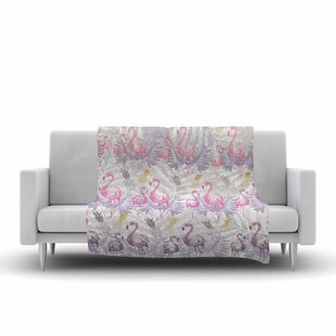 Mmartabc Flamingos and Pineapples Watercolor Fleece Blanket ByEast Urban Home