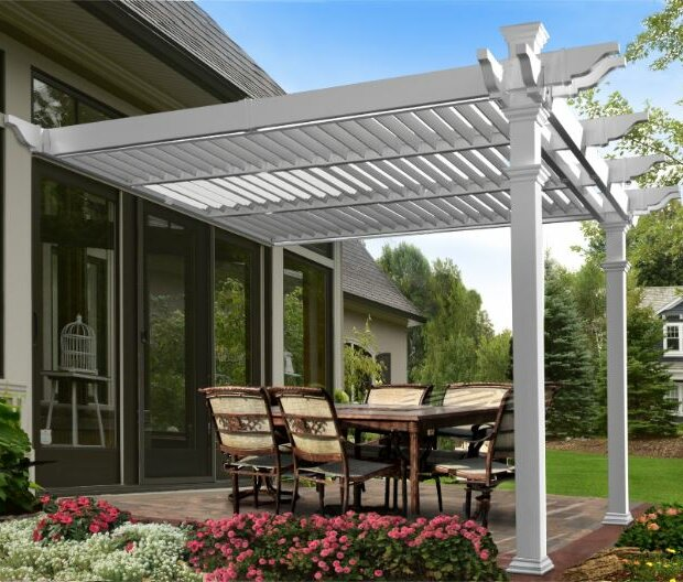 New England Arbors Elysium Attached Louvered 12 Ft W X 12