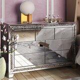 Amadi 7 - Drawer Nightstand in Silver Clear Mirror