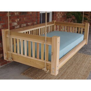 Longbridge Cedar Hanging Daybed Rope Porch Swing by Millwood Pines Today Only Sale