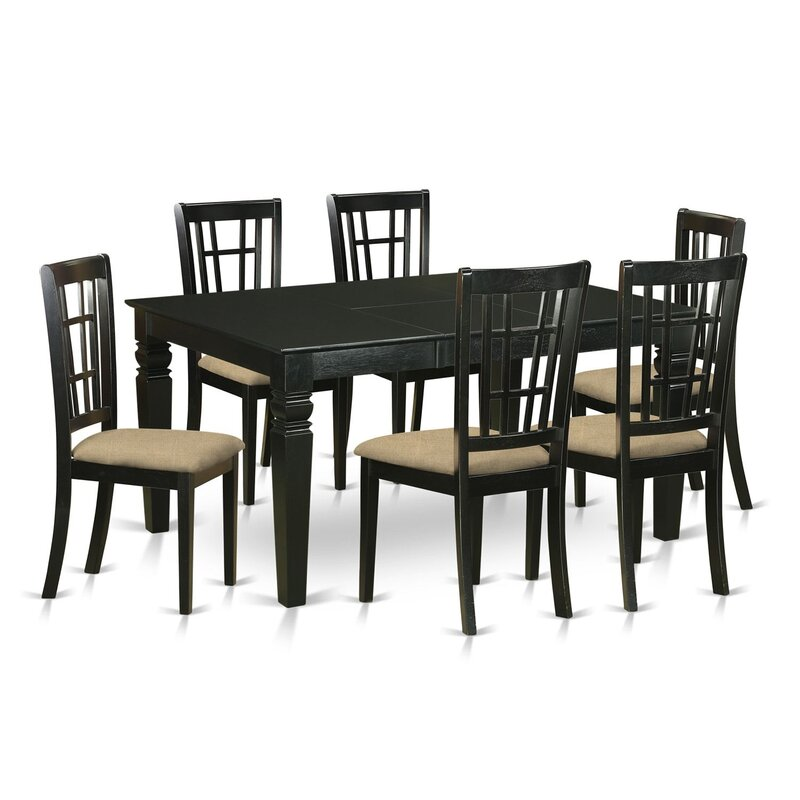 Beachcrest Home Pennington 7 Piece Extendable Dining Set