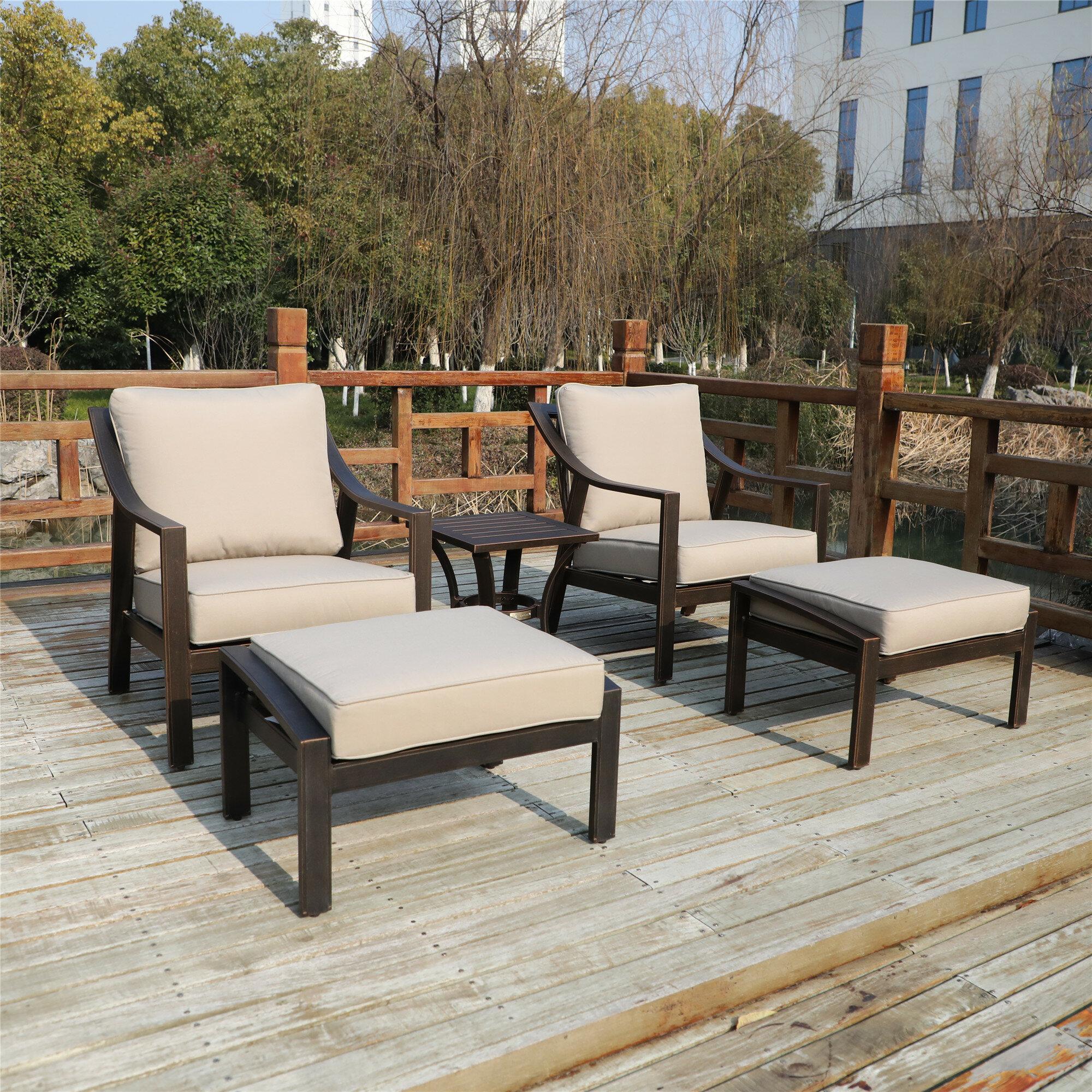 Canora Grey Rolla Outdoor Aluminum 5 Piece Sofa Seating Group With Cushions Wayfair