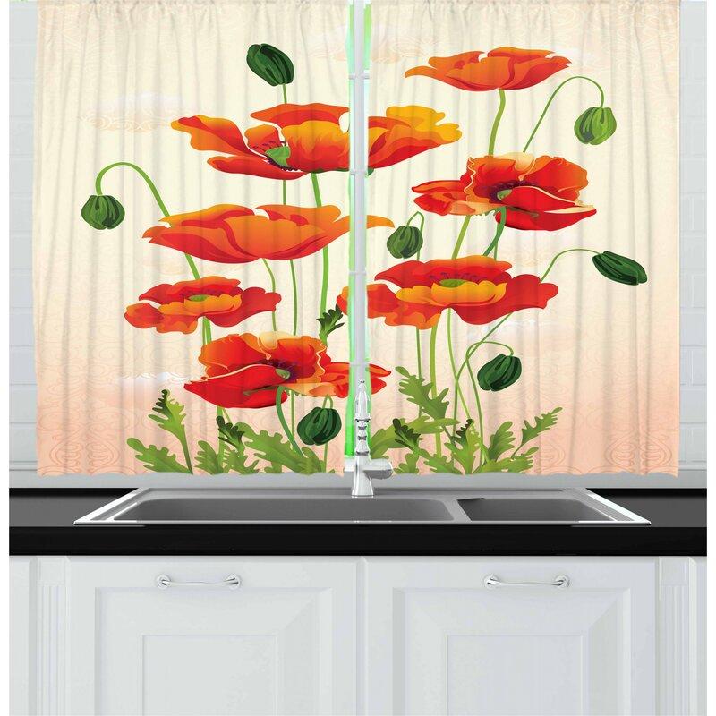 East Urban Home Poppy 2 Piece Kitchen Curtain Set Wayfair