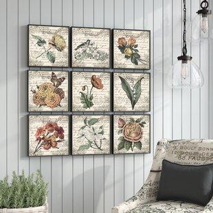 6e2975f25a1e 'French Botanical Illustrations' 9 Piece Canvas Wall Art Set