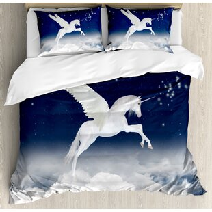 East Urban Home Fantasy Legendary Unicorn Flying Over Clouds Novelty and Purity Icon Magic Creature Image Duvet Set