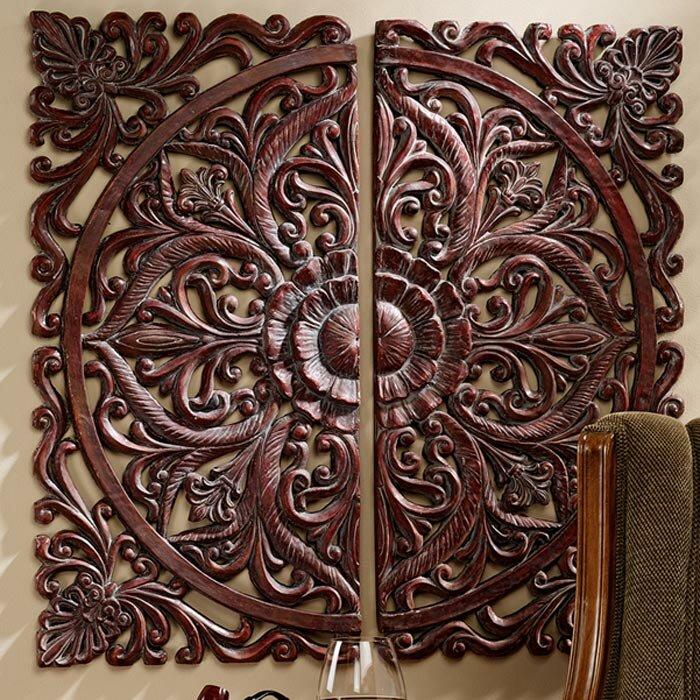 design toscano 2 piece carved rosette wall d
