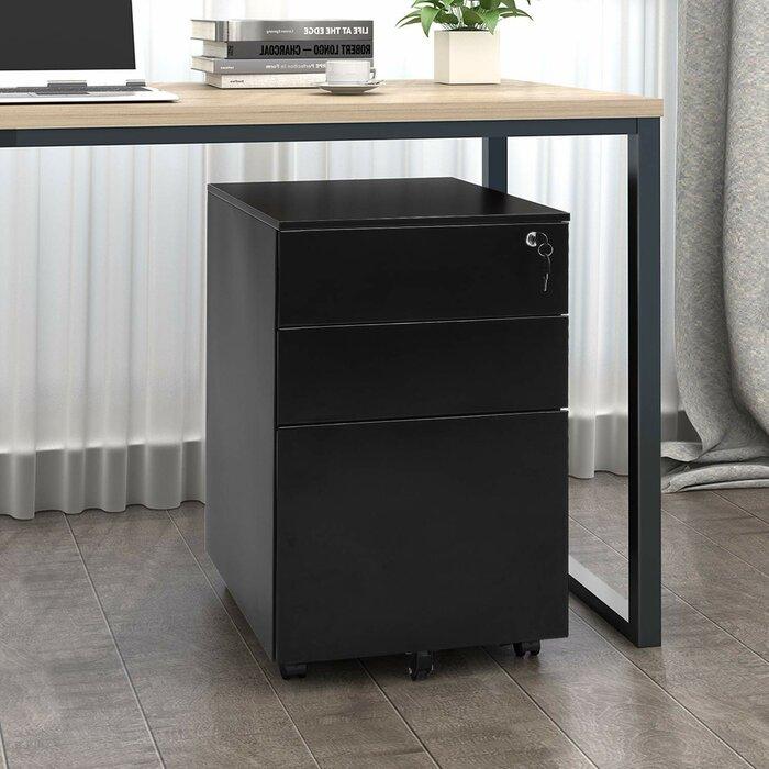 Bon Ziemba Rolling Metal 3 Drawer Vertical Filing Cabinet