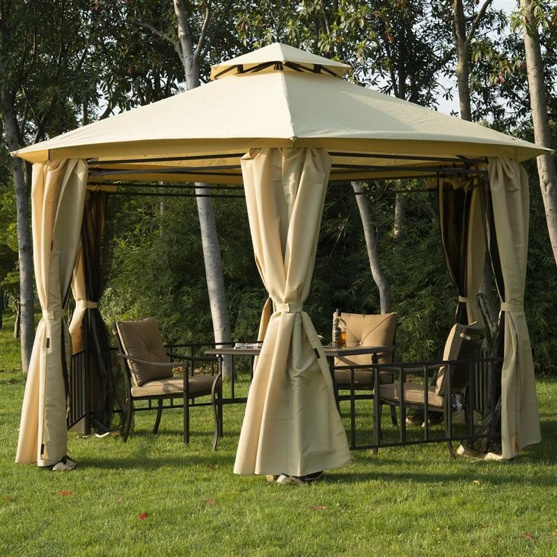 Permanent Canopy Shelter : Outsunny ft w d steel permanent gazebo