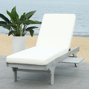 Fullerton Reclining Chaise Lounge with Cushion and Table by Breakwater Bay