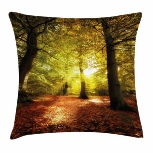 Fall Decor Blurry Forest Dreamy Square Pillow Cover