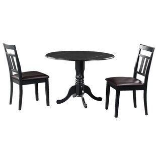 Brompton 3 Piece Drop Leaf Solid Wood Dining Set Alcott Hill
