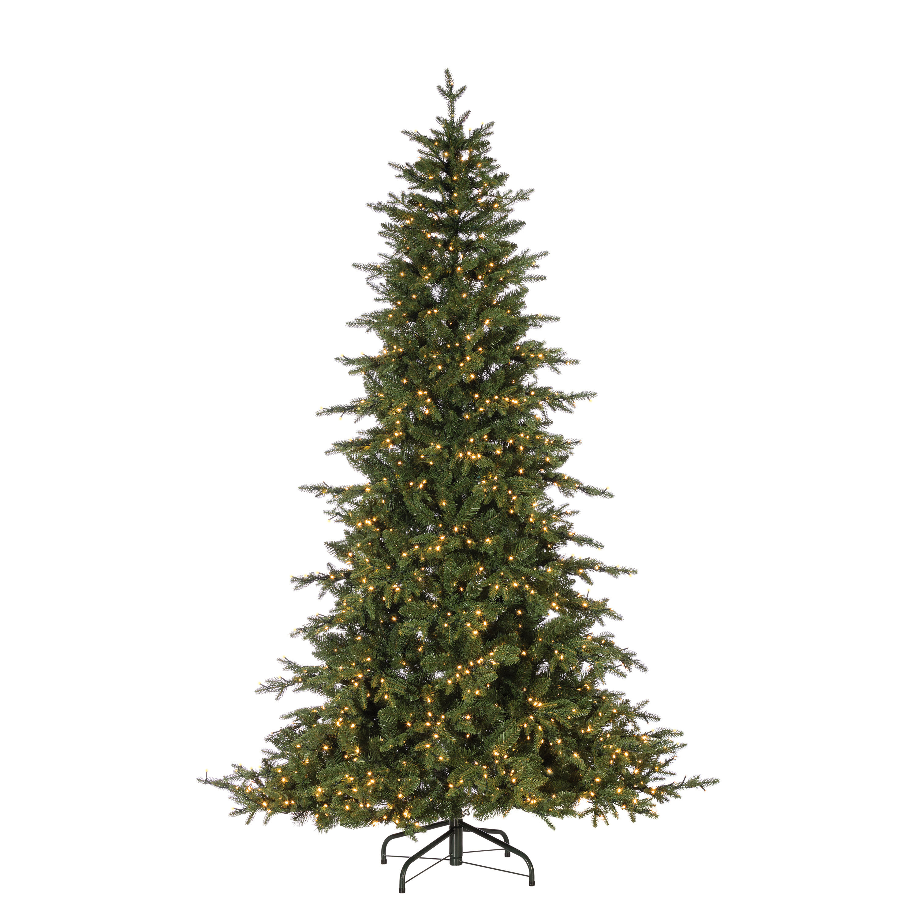 The Holiday Aisle Led Natural Cut Seville Green Pine Artificial Christmas Tree With Clear White Lights Stand Wayfair