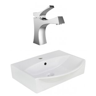 Xena Farmhouse Ceramic 19.5 Bathroom Sink with Faucet and Overflow ByRoyal Purple Bath Kitchen