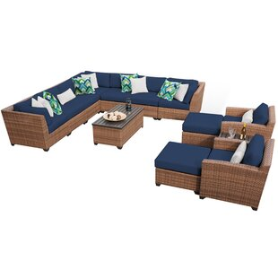 Waterbury 13 Piece Rattan Sectional Seating Group with Cushions
