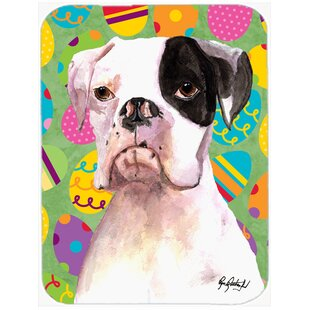 Cooper Eggstravaganza Boxer Easter Glass Cutting Board By Caroline's Treasures