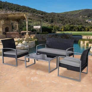 Kreutzer Patio Garden Furniture 4 Piece Rattan Sofa Seating Group with Cushions