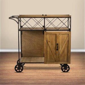 Josiahs Rustic Barn Door Rolling Bar Cart by Gracie Oaks