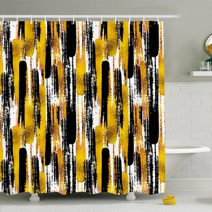 Modern Art Home Grunge Brushstroke Expressionist Background with Paint Effects Design Shower Curtain Set