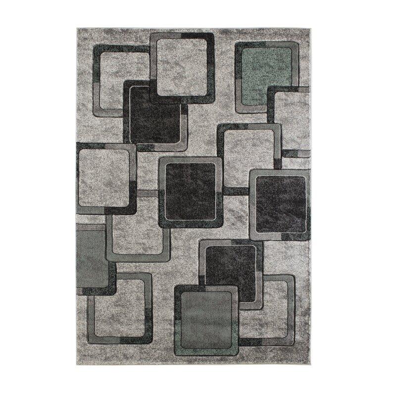 Wrought Studio Adonia Geometric Gray Black Area Rug Wayfair