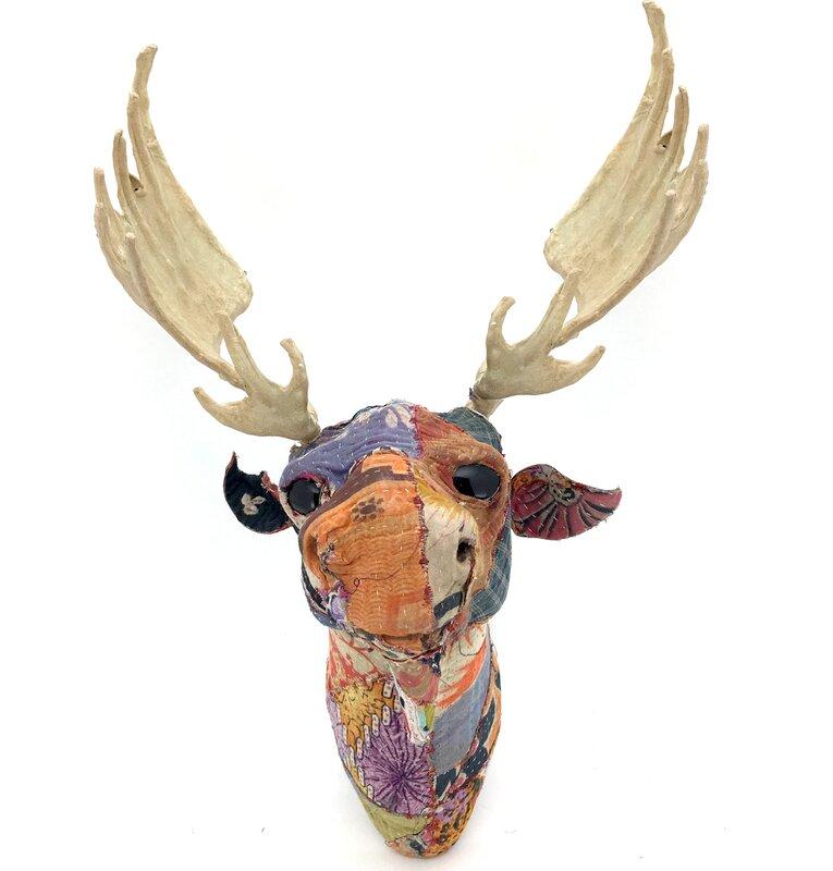 KMPG Vintage Sari Fabric Moose Head Wall Décor  Reviews Wayfair - Moose wall decor