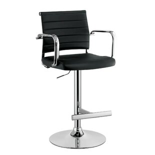 Kailee Leatherette Padded Adjustable Height Swivel Bar Stool by Orren Ellis