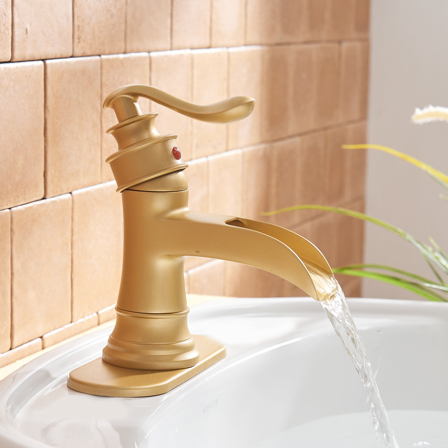 Brushed Gold Single Hole Bathroom Faucet with Drain Assembly