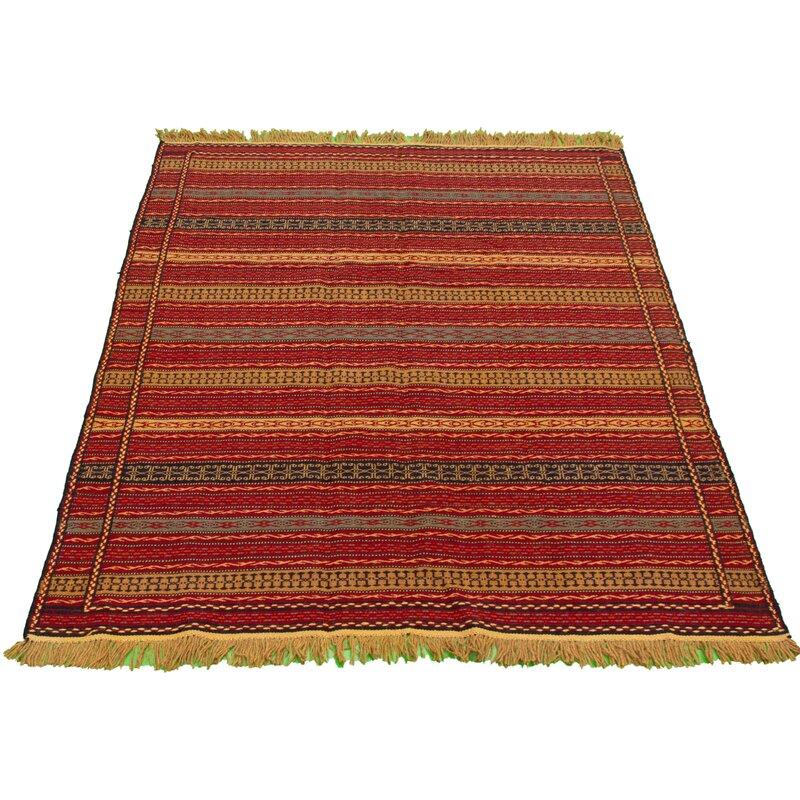 Foundry Select Witcher Handmade Kilim Wool Orange Yellow Rug Wayfair