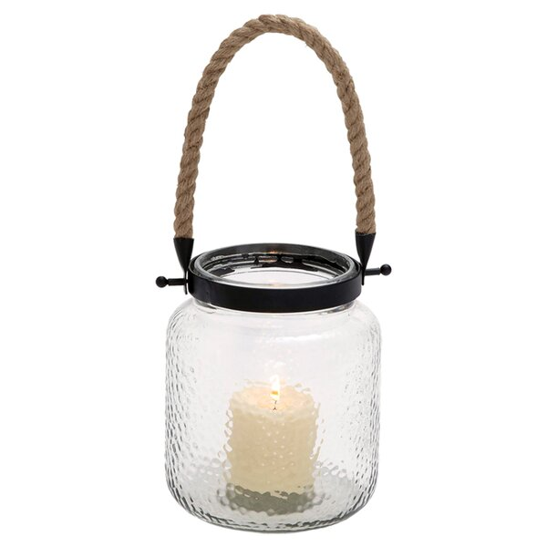 Large Glass Lantern with Rustic Rope Handle with LET YOUR LOVE SHINE BRIGHT