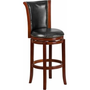 Howze 30'' Panel Back Swivel Bar Stool Alcott Hill