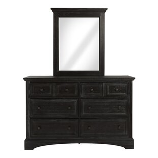 Farmhouse 6 Drawer Double Dresser with Mirror