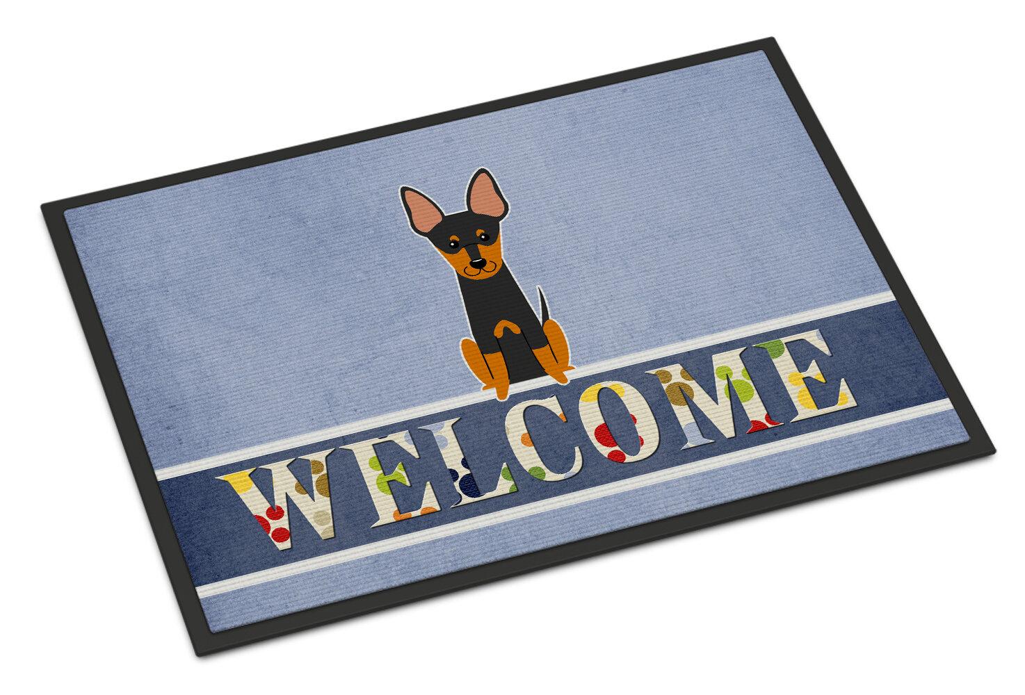 East Urban Home English Toy Terrier Welcome 27 In X 18 In Non Slip Outdoor Door Mat Wayfair