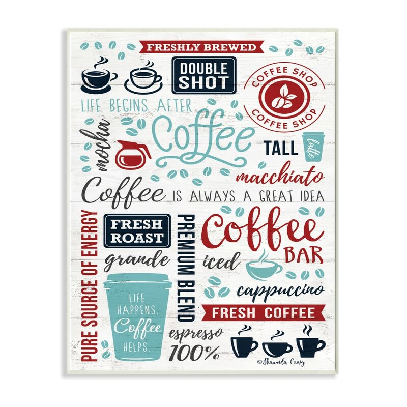 Ebern Designs Coffee Collage With Cups And Beans Panoramic Graphic Art Print Set On Canvas Wayfair